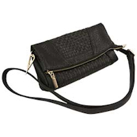 Black RFID Weave Cross Body Purse