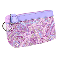 Purple Paisley Keychain Purse Wallet